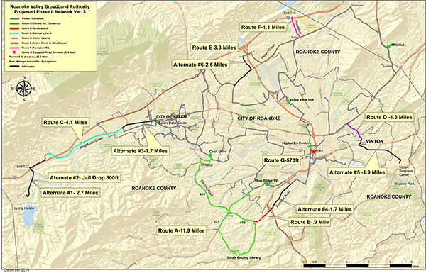 Roanoke Valley Broadband Authority Proposed Phase II Network Version 3 map (PDF) Opens in new window