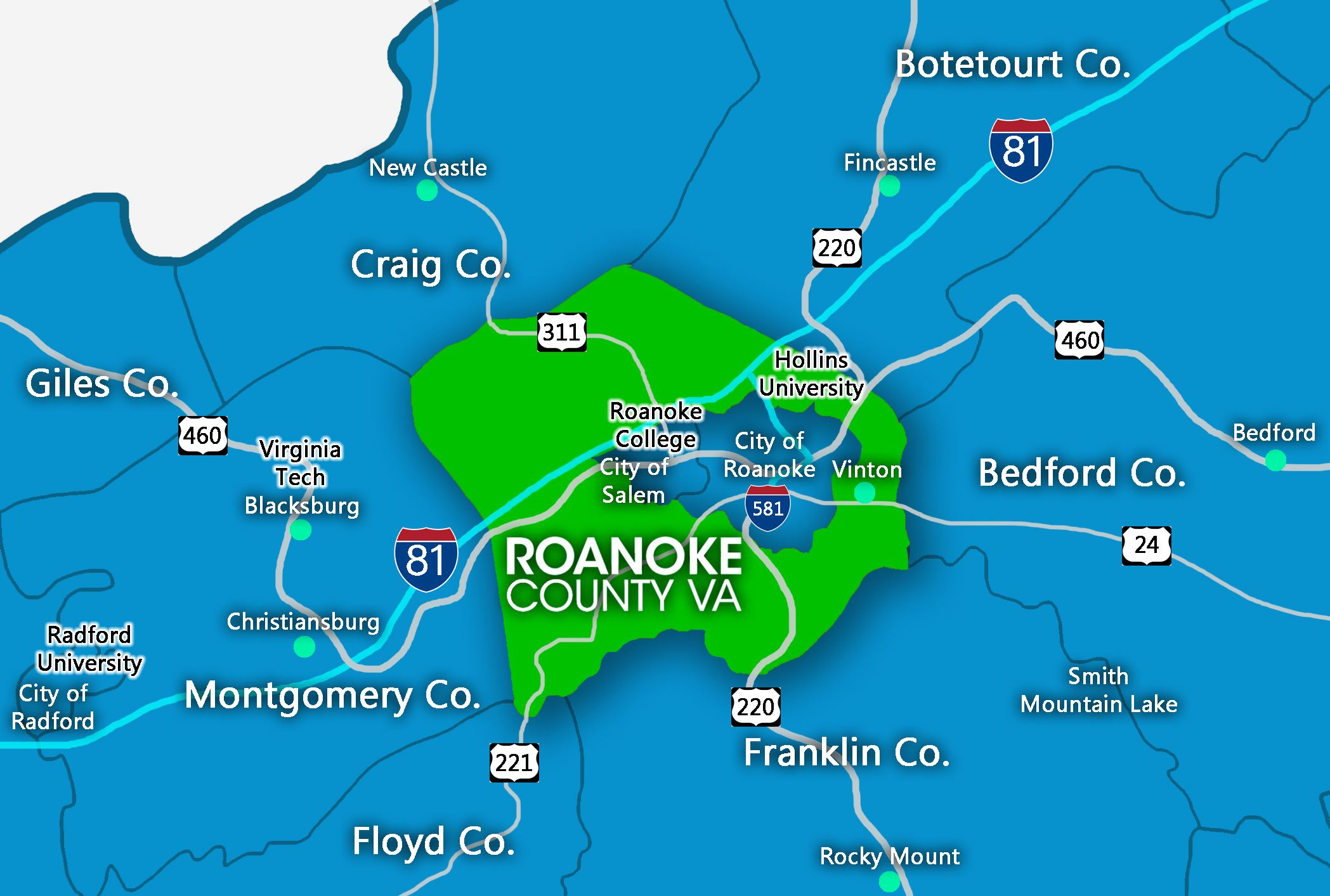 Roanoke County Region Map - Final